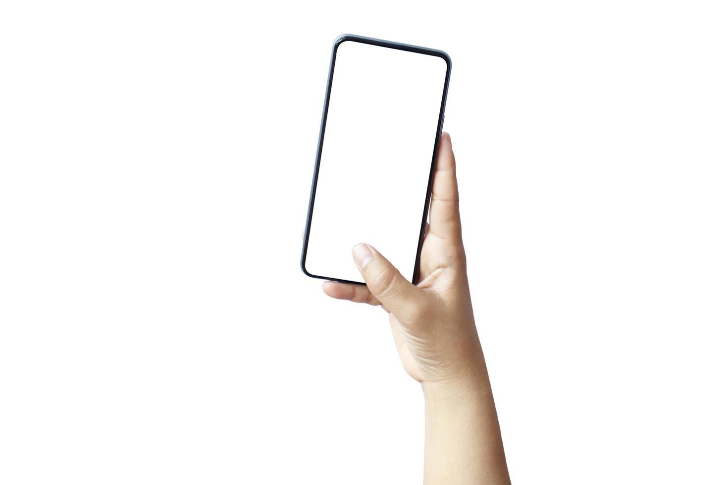 mobiles Smartphone mit stilvollem Design und einem leeren Bildschirm lokalisiert auf weißem Hintergrund mit dem Beschneidungspfad foto