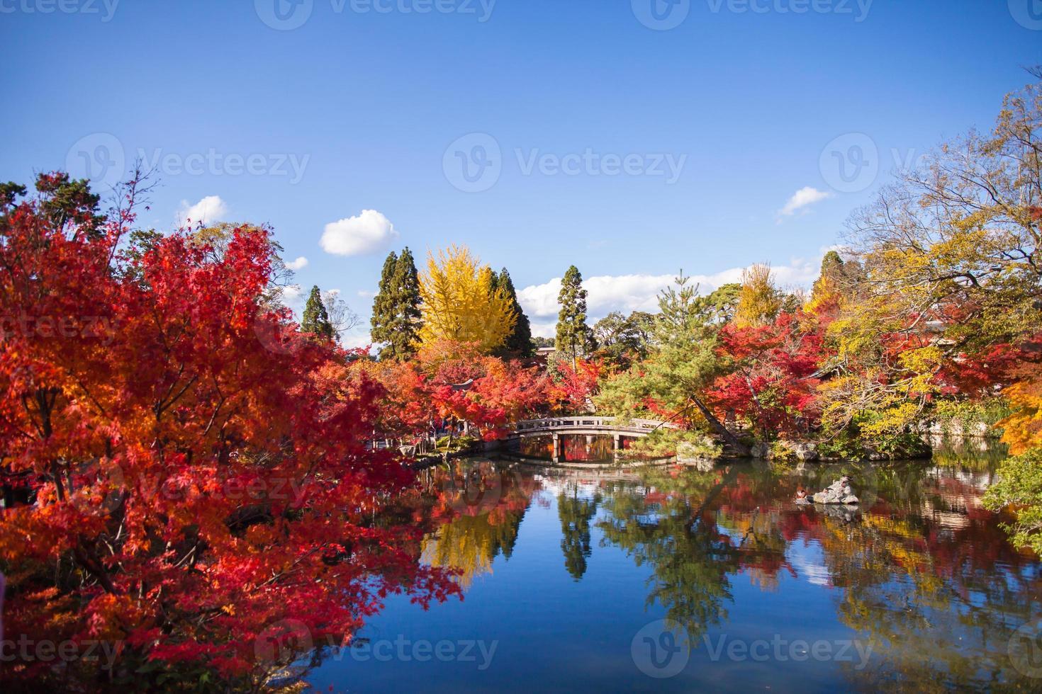 Brücke und Herbstbäume über Wasser foto