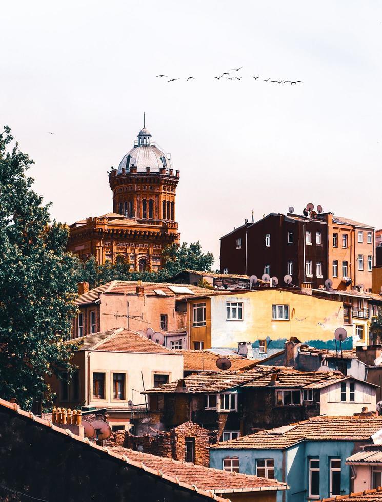 Vögel fliegen über der roten Kirche foto