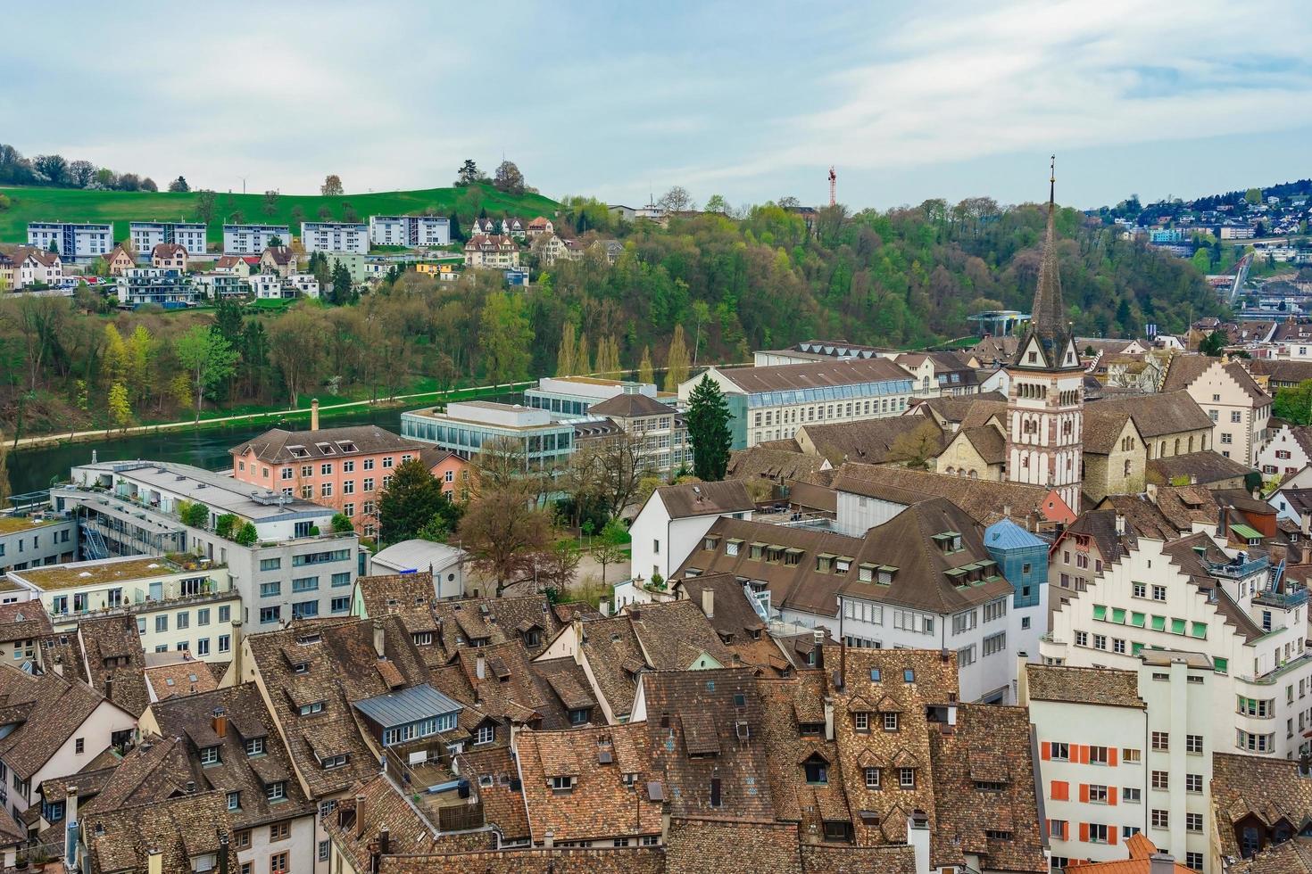 Panoramablick auf die Altstadt von Schaffhausen, Schweiz foto