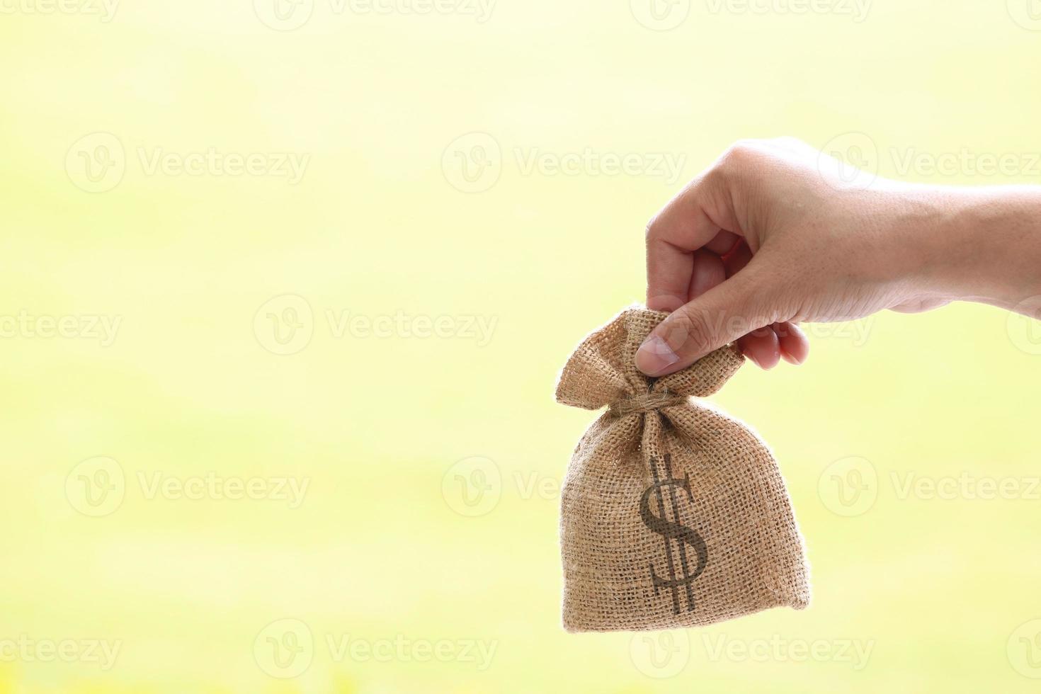 Hand hält Leinensack mit Dollarzeichen foto