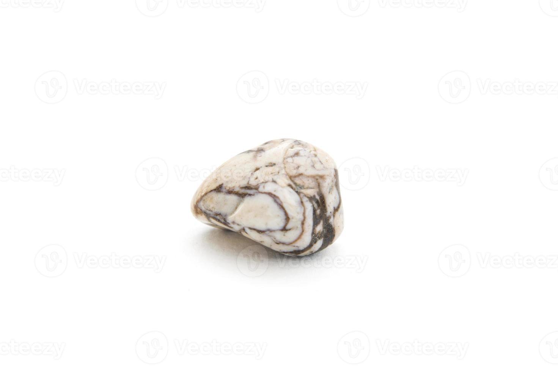 Zebra Jaspis Mineral auf dem weißen Hintergrund foto