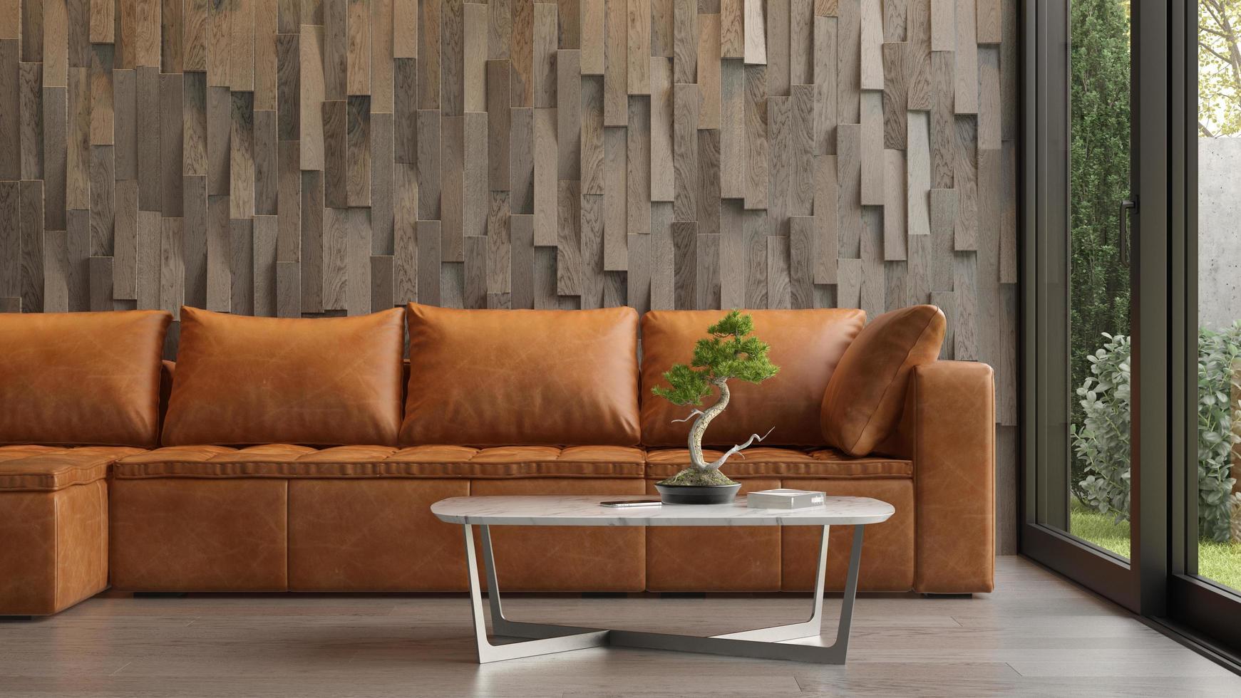 Innenraum eines modernen Raumes mit einem Sofa im 3D-Rendering foto