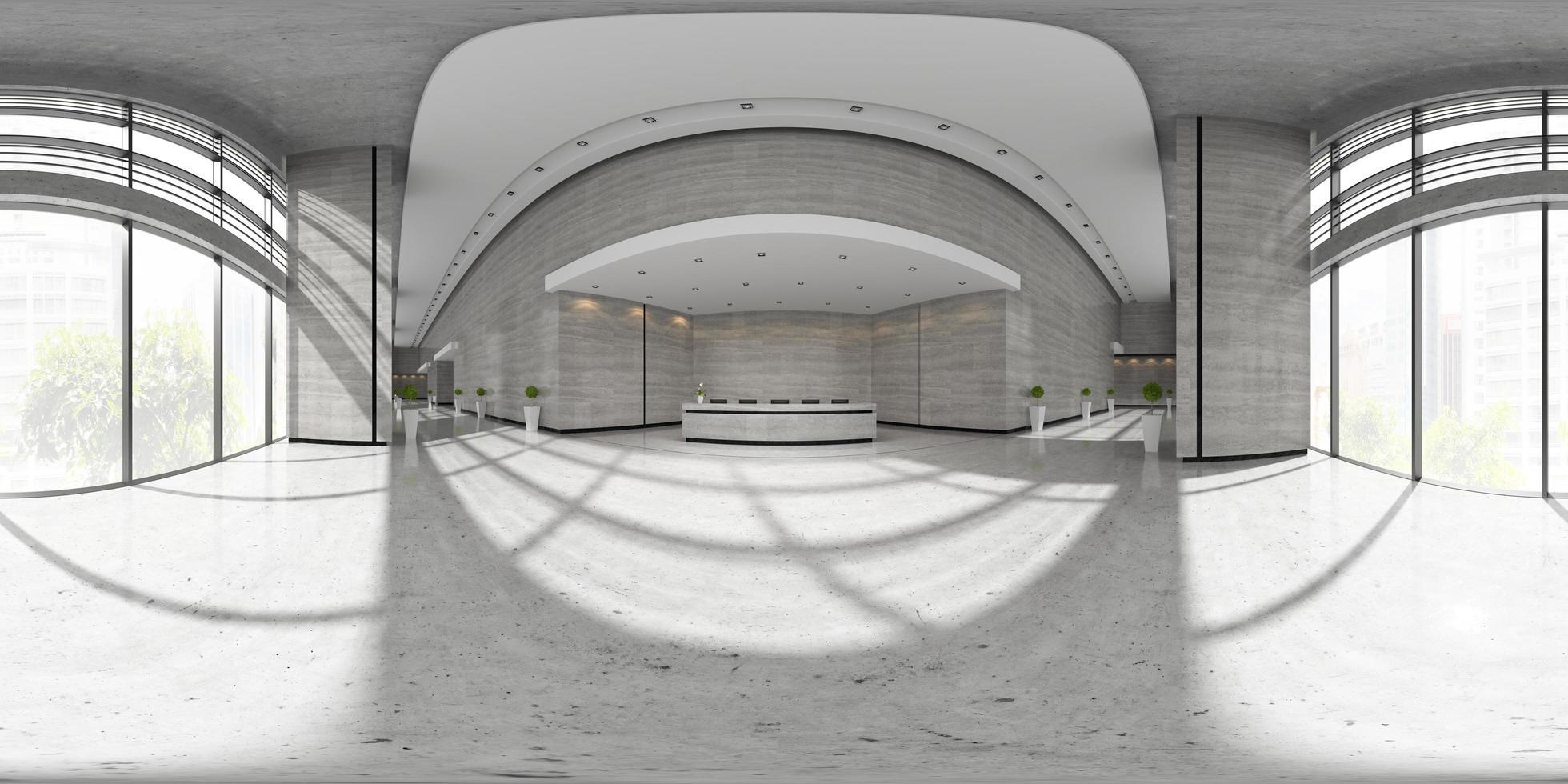 sphärische 360-Panorama-Projektion eines Innenraums eines Empfangsbereichs in der 3D-Illustration foto