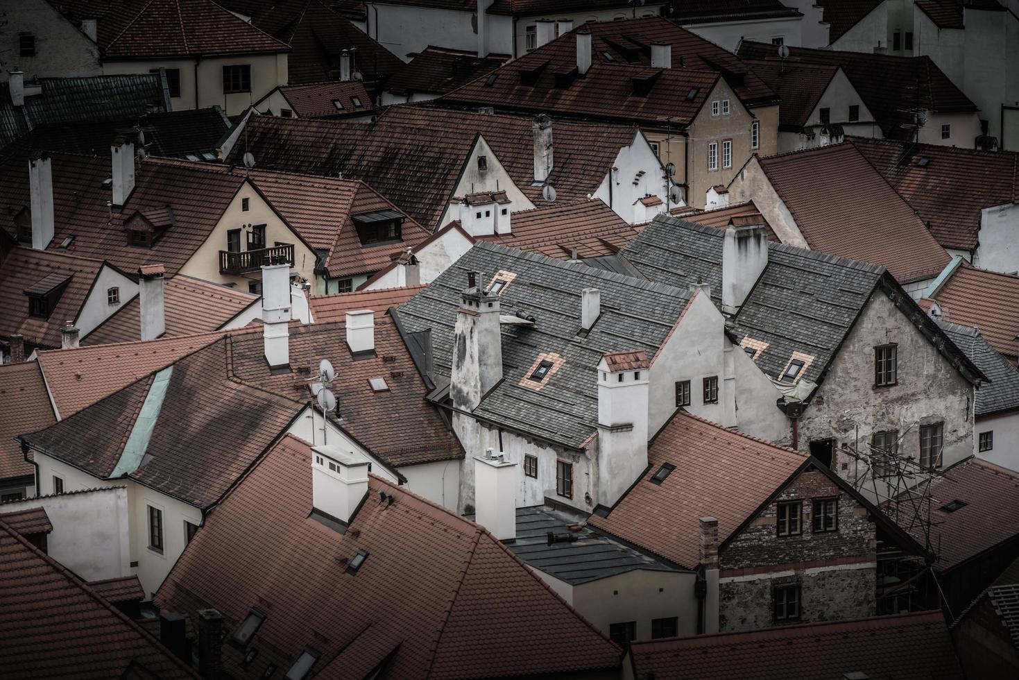 Dächer von Häusern in der Altstadt von Cesky Krumlov foto