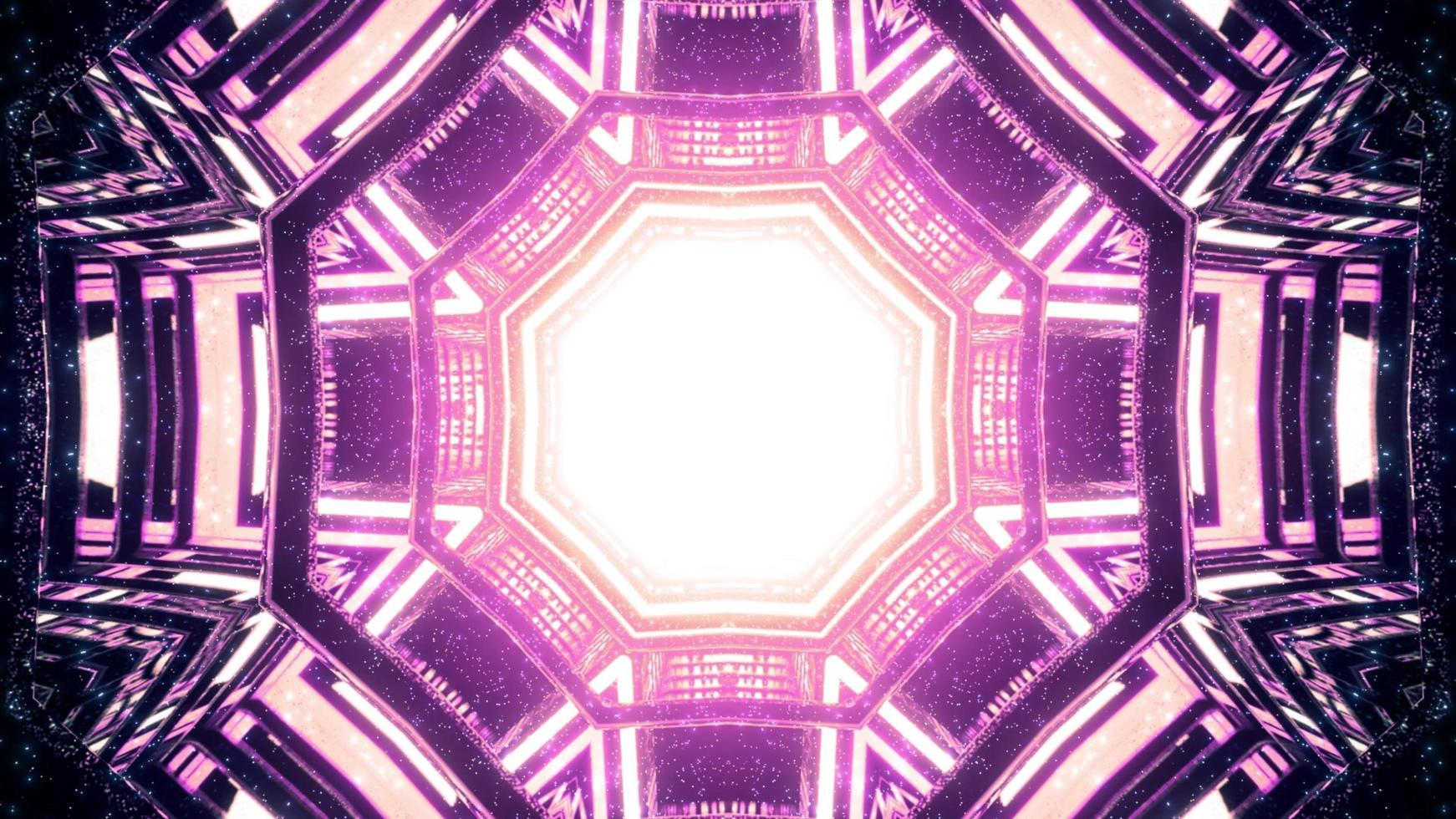 magischer Tunnel mit geometrischen Formen und Neonfarben 3d Illustration foto