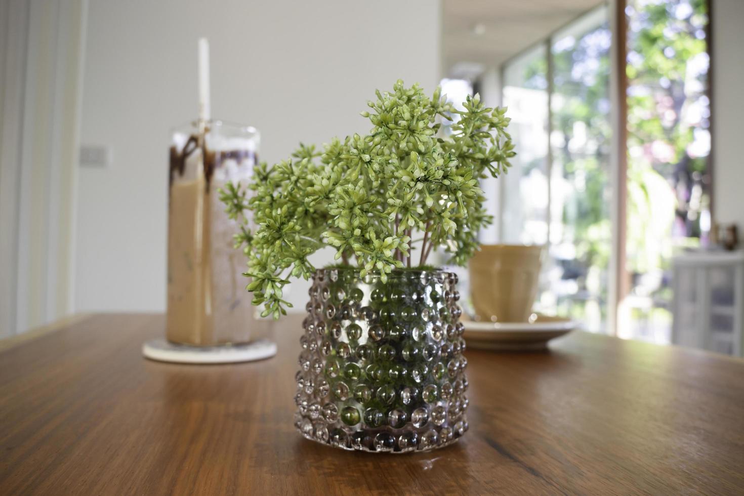 Pflanze auf einem Coffeeshop-Tisch foto