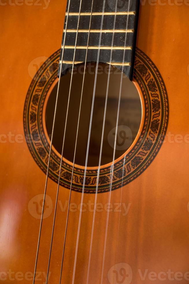 Teilnahaufnahme einer Akustikgitarre foto
