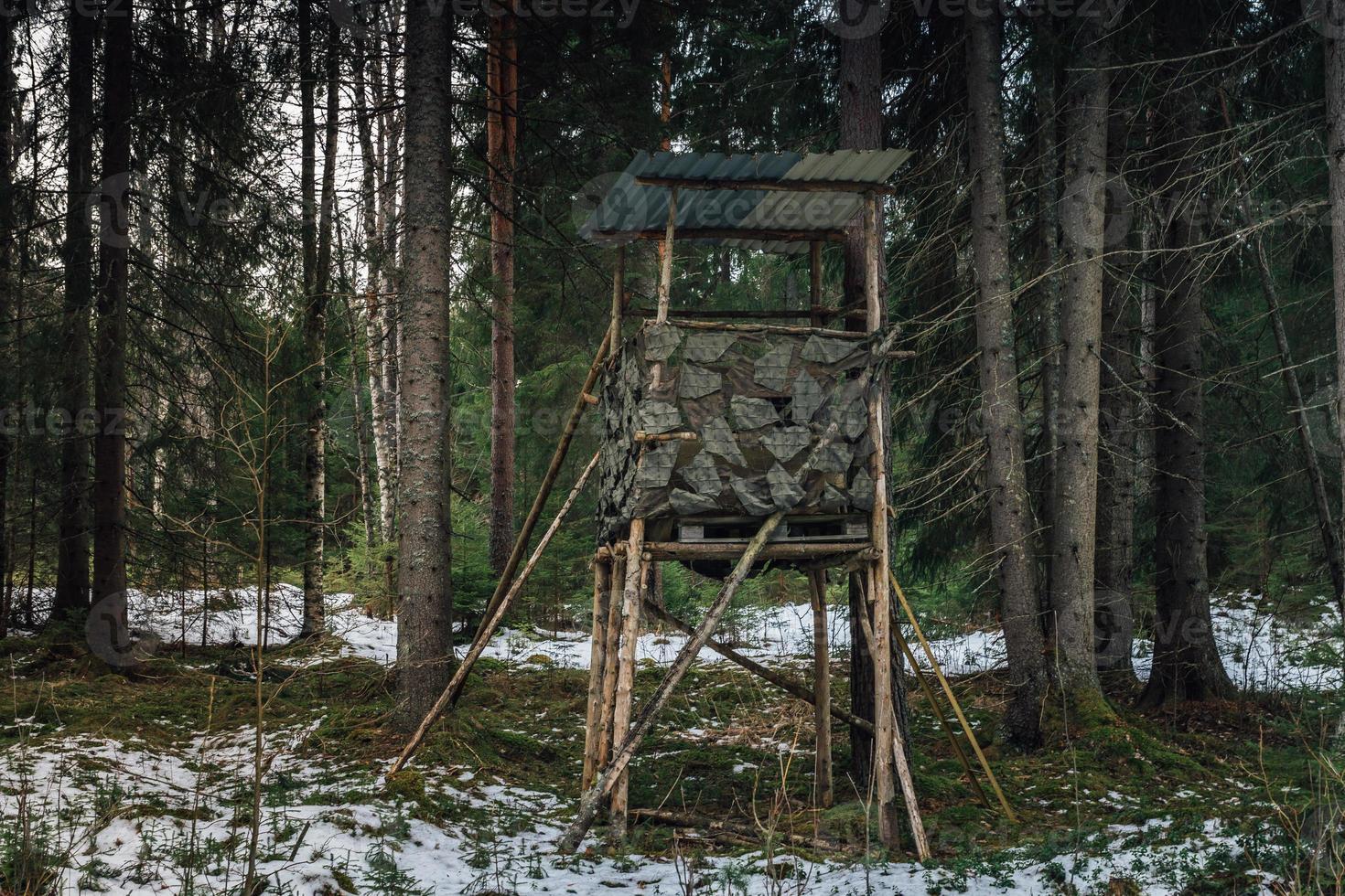 Jagdturm stehend in einem Wald foto