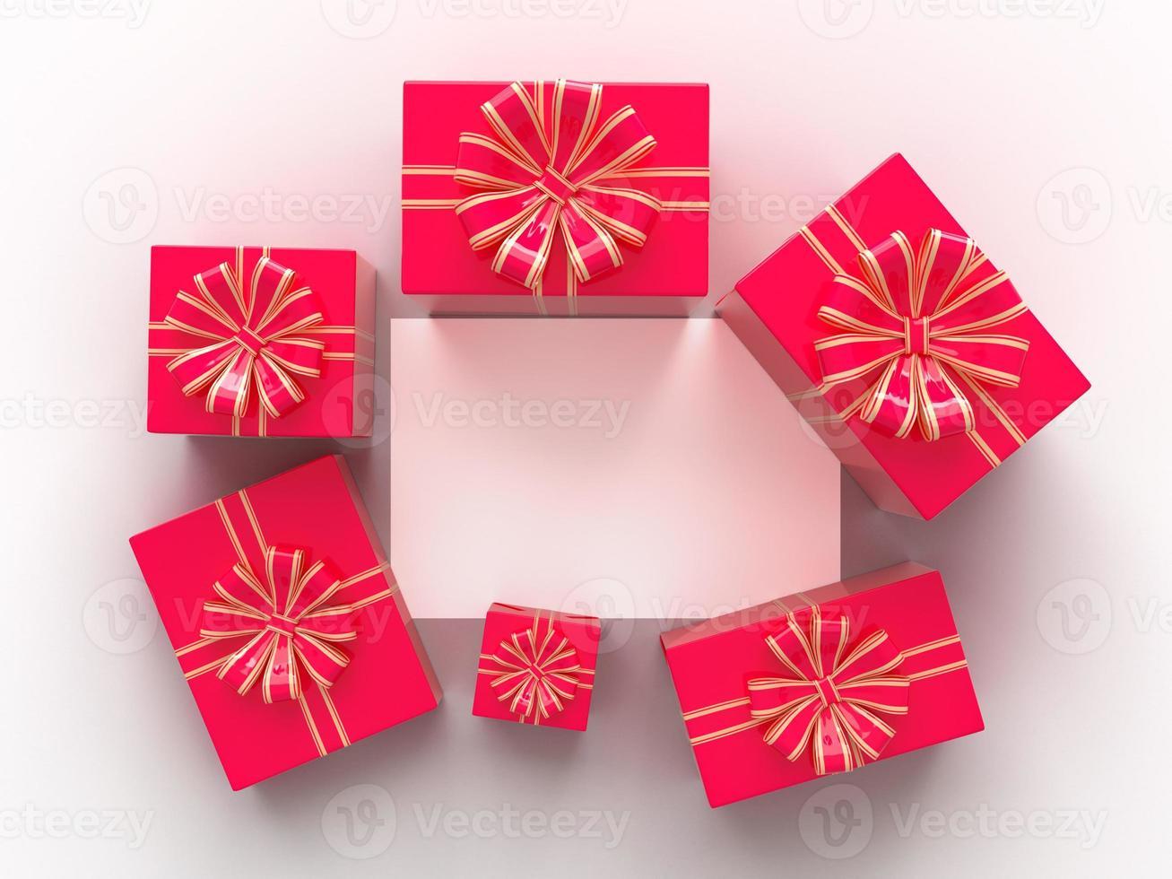Grußkarten-Design-Modell mit Geschenken, die leere Seite rahmen foto