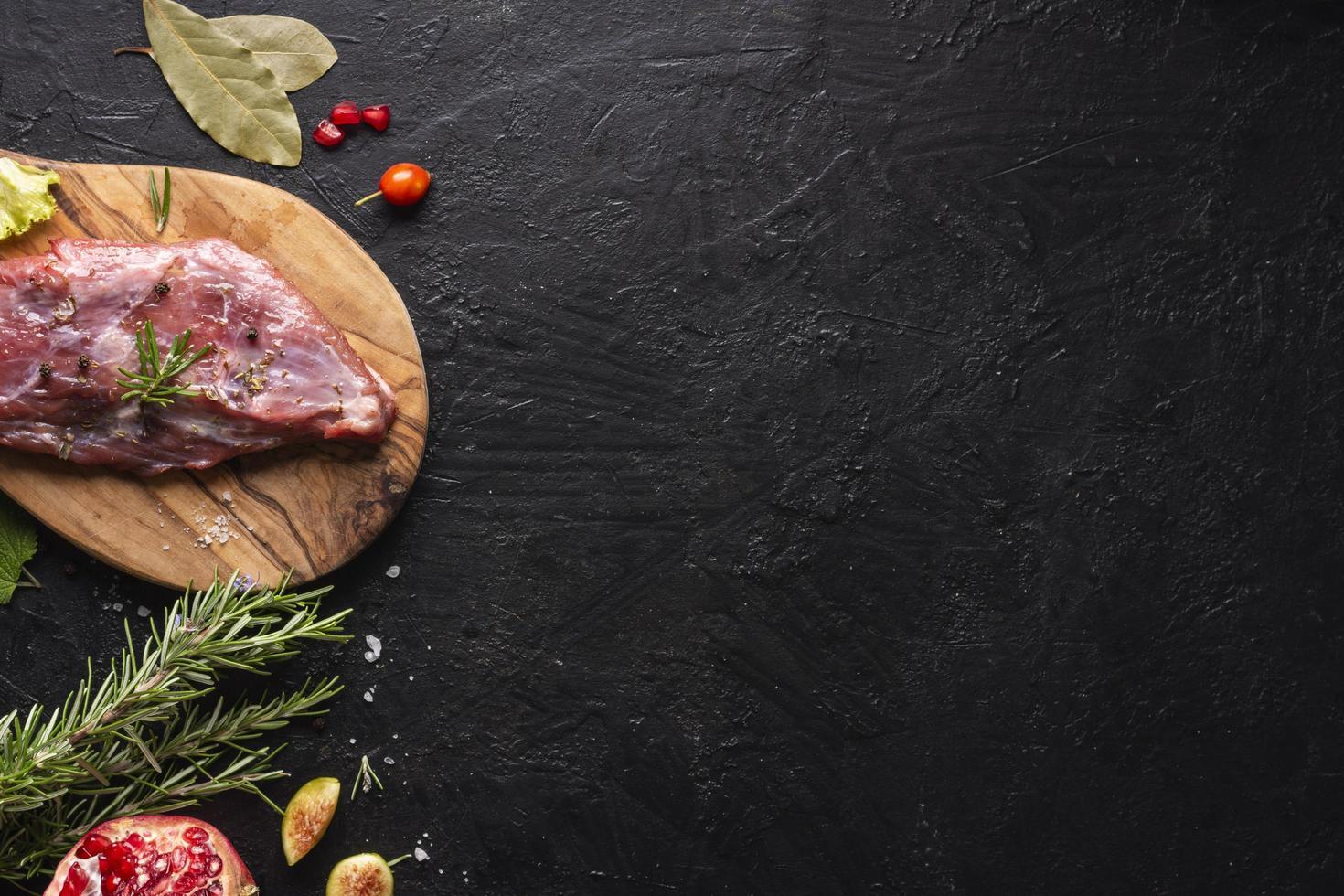 Draufsicht Fleischkonzept mit Kopierraum foto