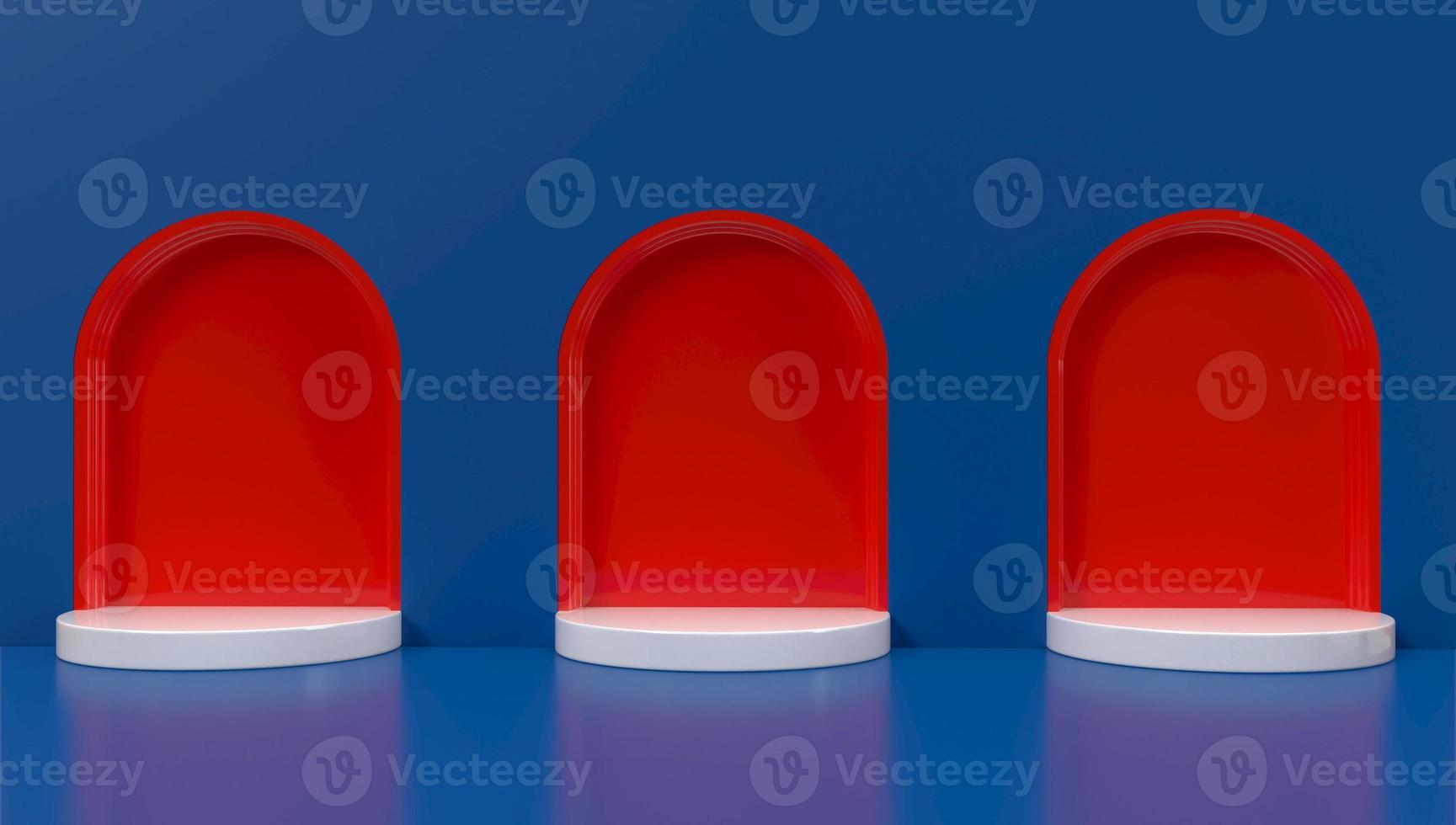 3D-Wiedergabe von roten Bögen auf blauem Hintergrund foto