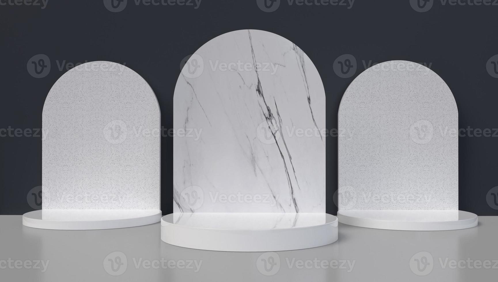 3D-Darstellung von drei Marmorbögen foto