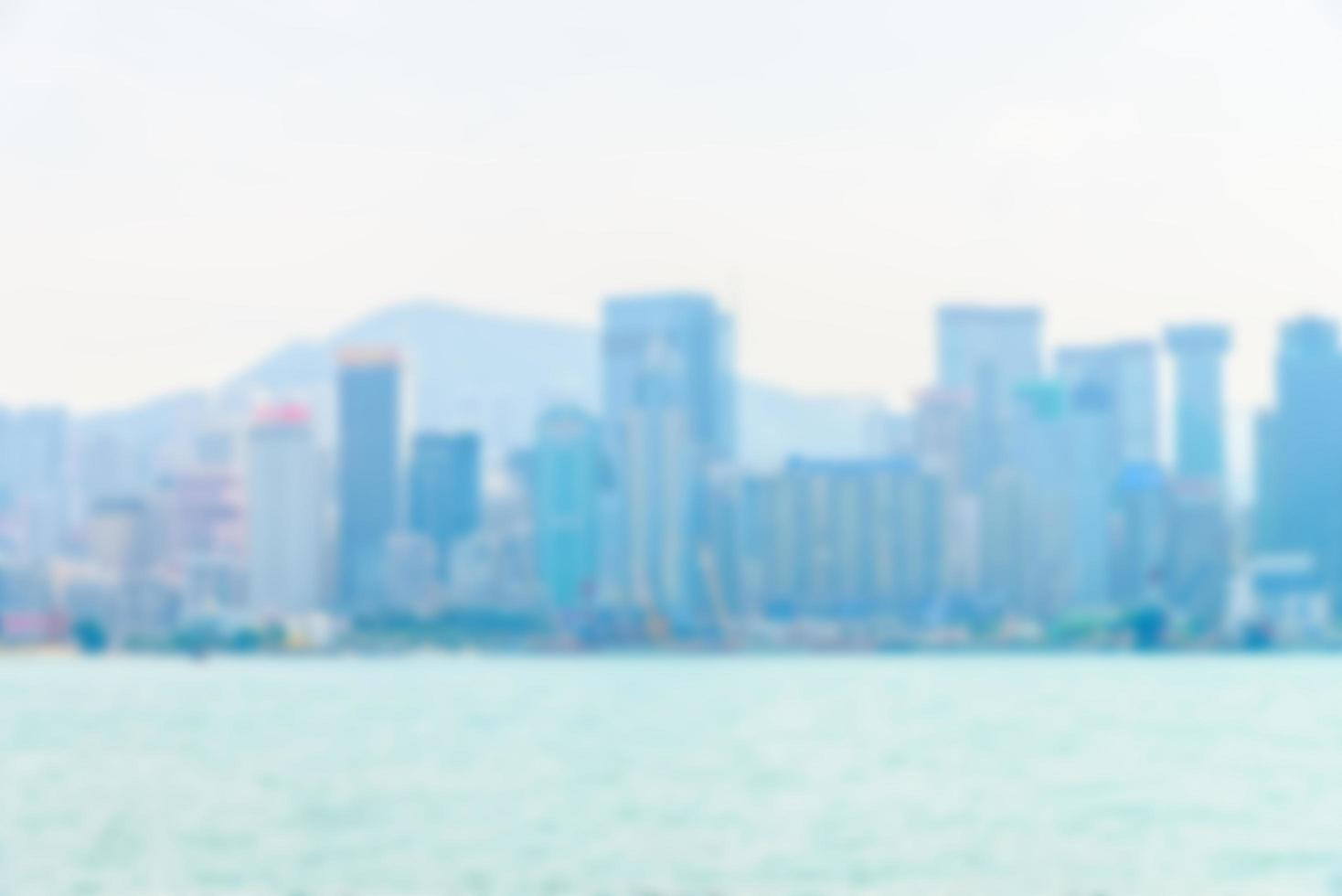 abstrakte defokussierte Hong Kong Skyline foto