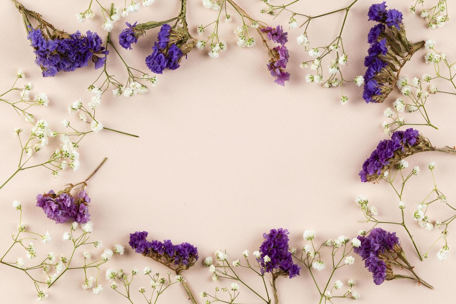 Draufsicht Blumen flach liegen foto