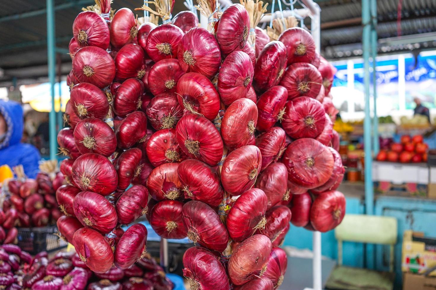 rote Zwiebeln in langen Bündeln auf der Theke zu verkaufen. foto