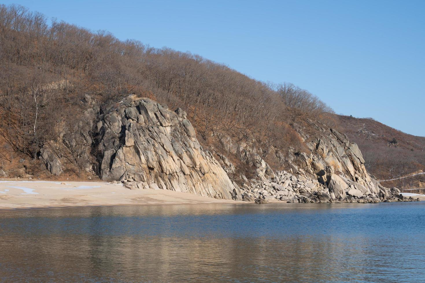 Seelandschaft mit Blick auf Felsen im Schnee. foto