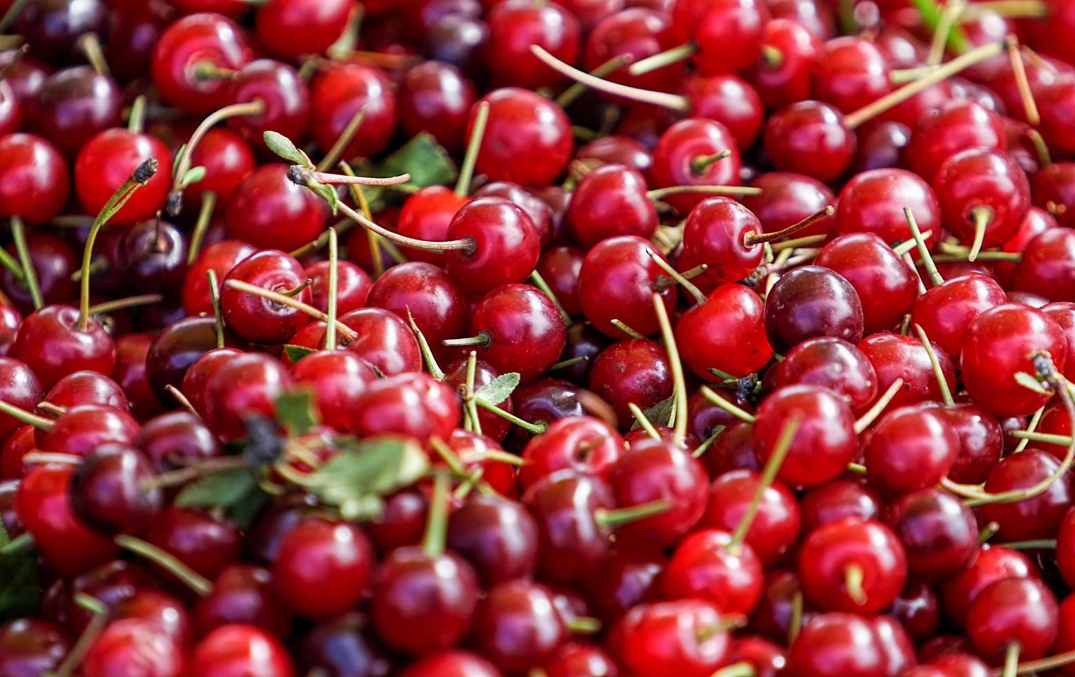 natürlicher Hintergrund mit roten Kirschfrüchten foto