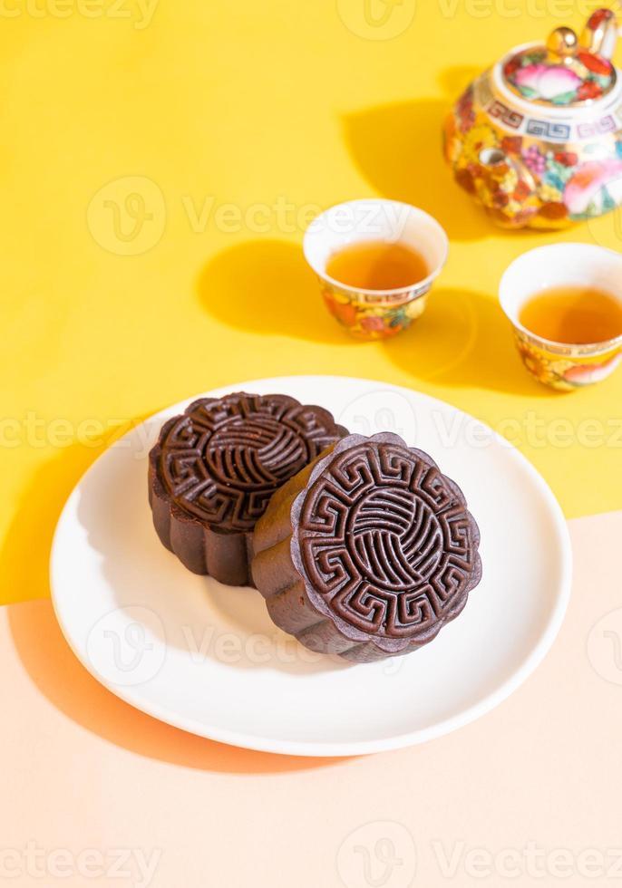 Mondkuchen mit dunklem Schokoladengeschmack foto