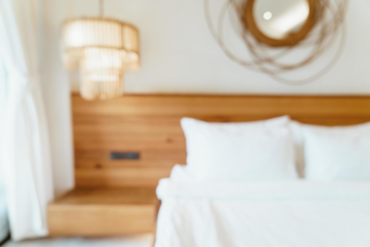 abstrakte Unschärfe und defokussierter Schlafzimmerinnenraum für den Hintergrund foto