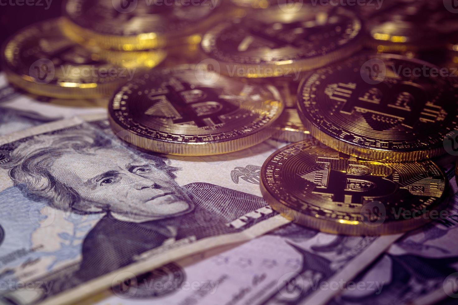 Bitcoin und Dollar, Bitcoin kaufen, Bitcoin-Tausch foto