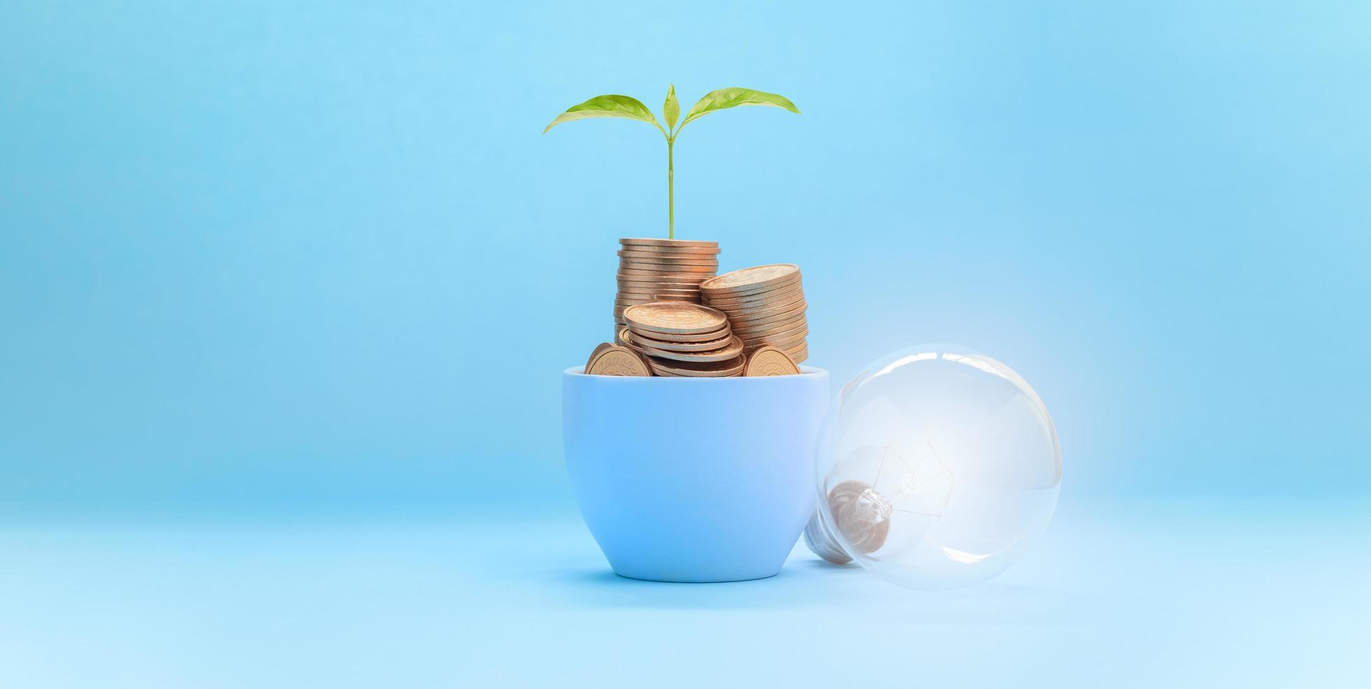 Konzept Investition Aktienfinanzierung Wachstum Geld sparen foto