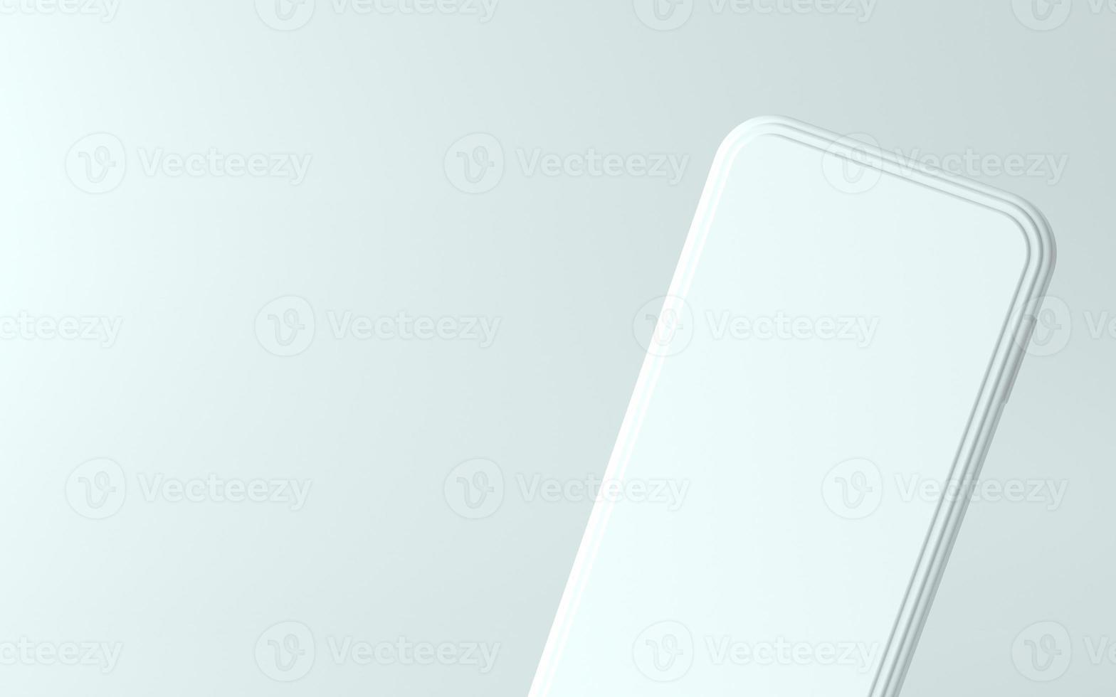 3D-Illustration des weißen Telefons mit leerem Bildschirm foto