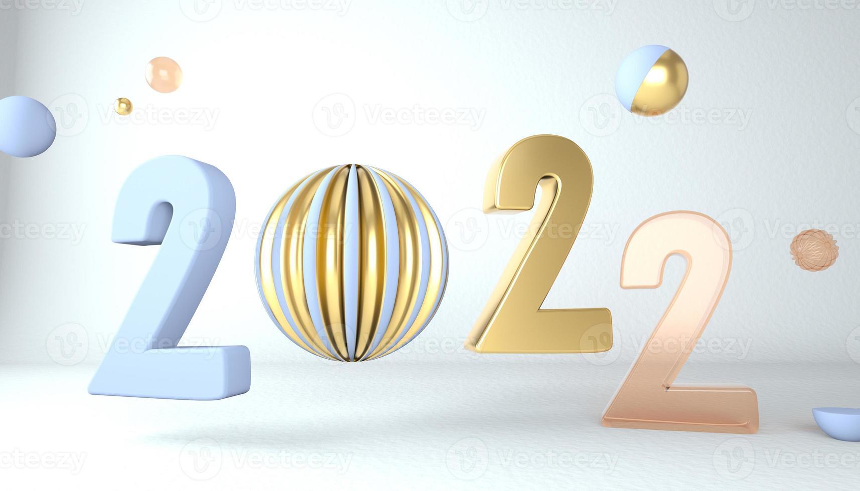 Frohes neues Jahr 2022. 3D-Zahlen mit geometrischen Formen und Weihnachtskugel. 3D-Rendering. foto