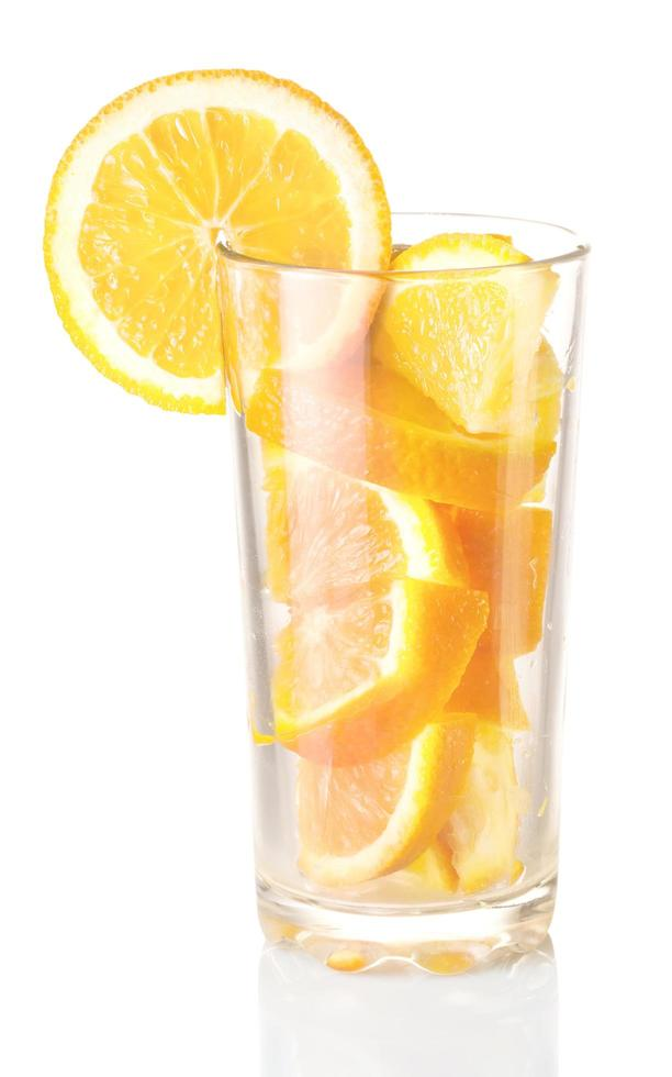 Glas mit Orange foto