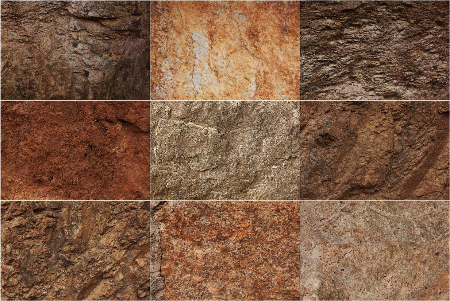 Steinoberflächen in verschiedenen Texturen foto