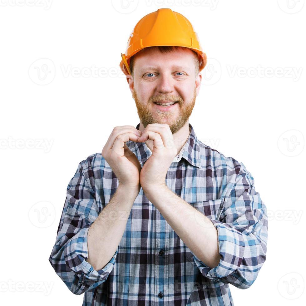 Mann faltete seine Hände in Form eines Herzens foto