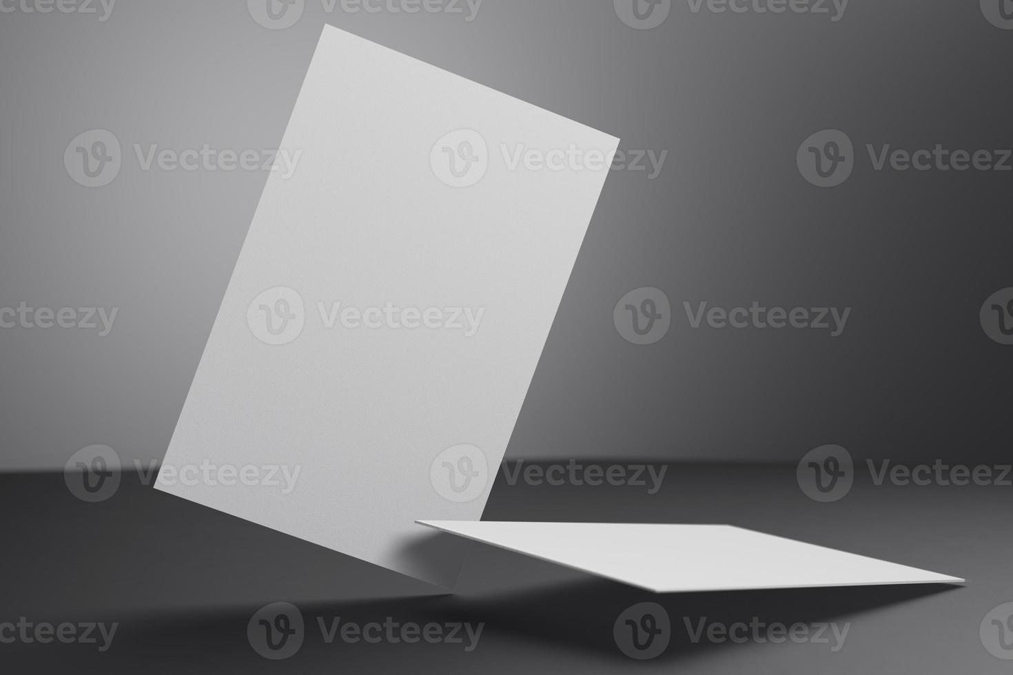 Weiße vertikale Visitenkarten-Papiermodellvorlage mit Leerraumabdeckung zum Einfügen des Firmenlogos oder der persönlichen Identität auf schwarzem Kartonhintergrund. modernes Konzept. 3D-Darstellung rendern foto