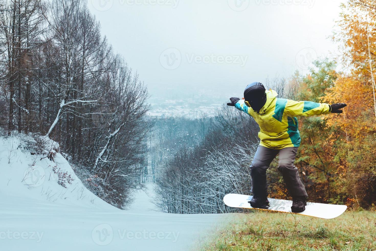 Snowboarder wartet auf Skisaison foto
