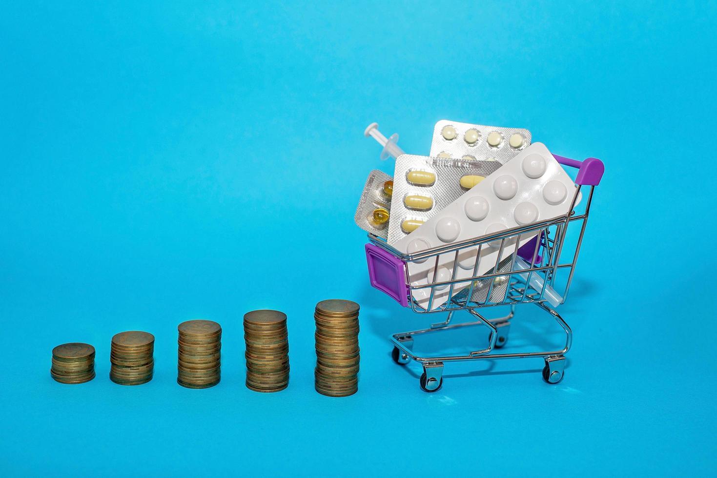 Ein Stapel Münzen in Folge mit einem Einkaufswagen mit Medikamenten auf blauem Hintergrund. Medikamentenpreissprung Konzeptsprung. Covid-19-Coronovirus-Pandemie foto