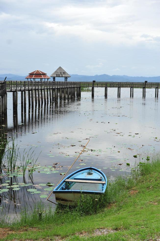 Brücke am See, natürlicher Hintergrund foto