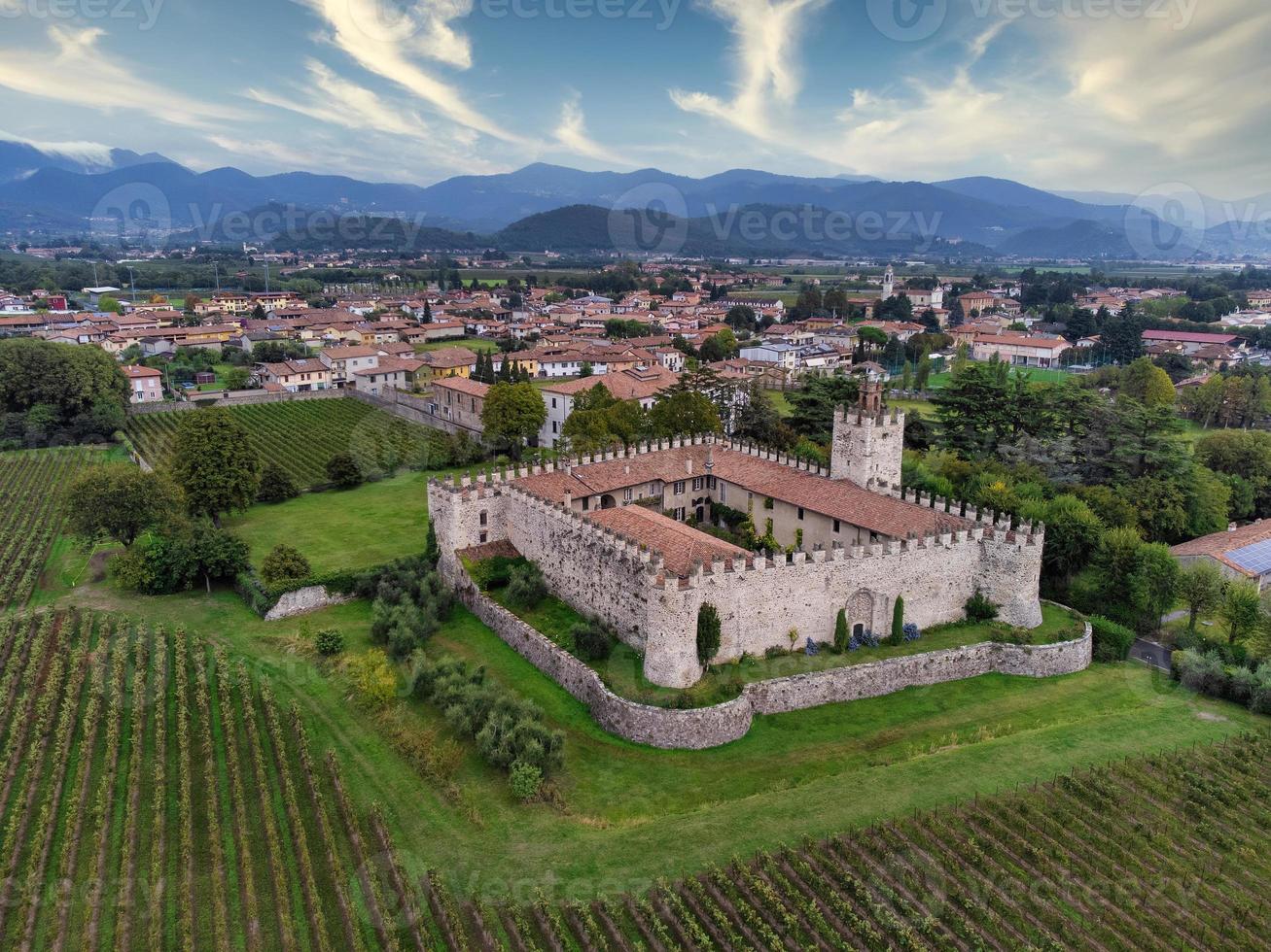 Luftaufnahme einer mittelalterlichen Burg, umgeben von Weinbergen foto
