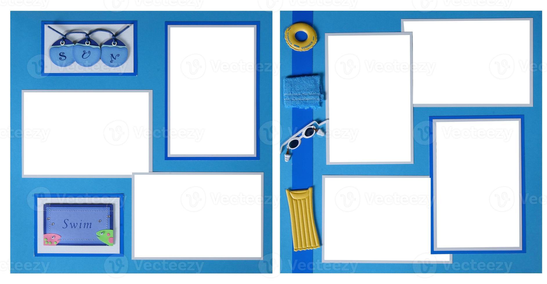 Sammelalbum-Seiten aus handgeschöpftem Papier, in die Sie Ihre Bilder einfügen können foto