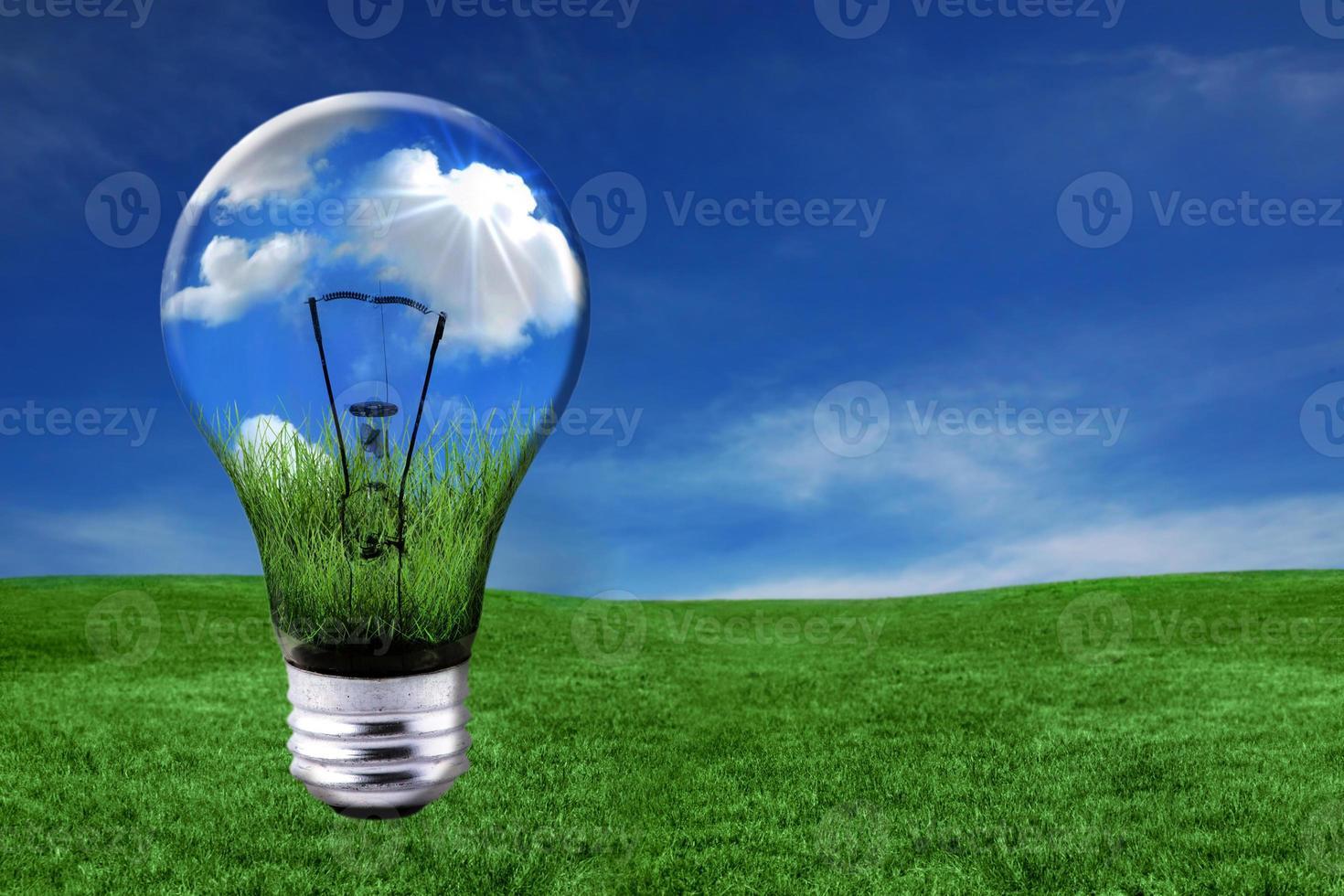 grüne Energielösungen mit Glühbirne foto