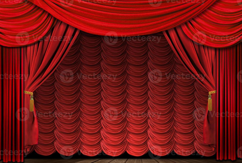 altmodische, elegante rote Bühnenvorhänge foto