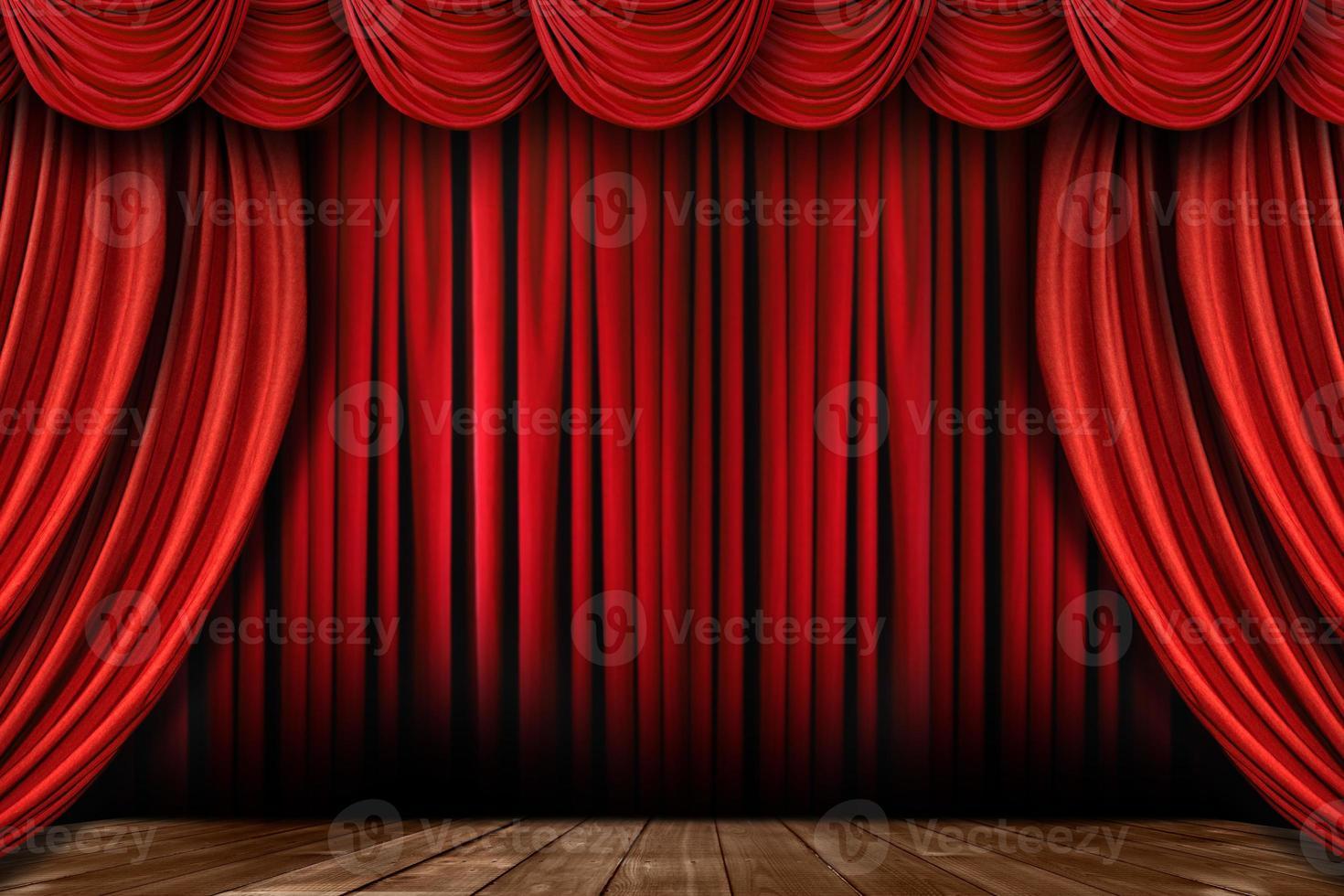 leuchtend rote Bühnenvorhänge mit vielen Swags foto