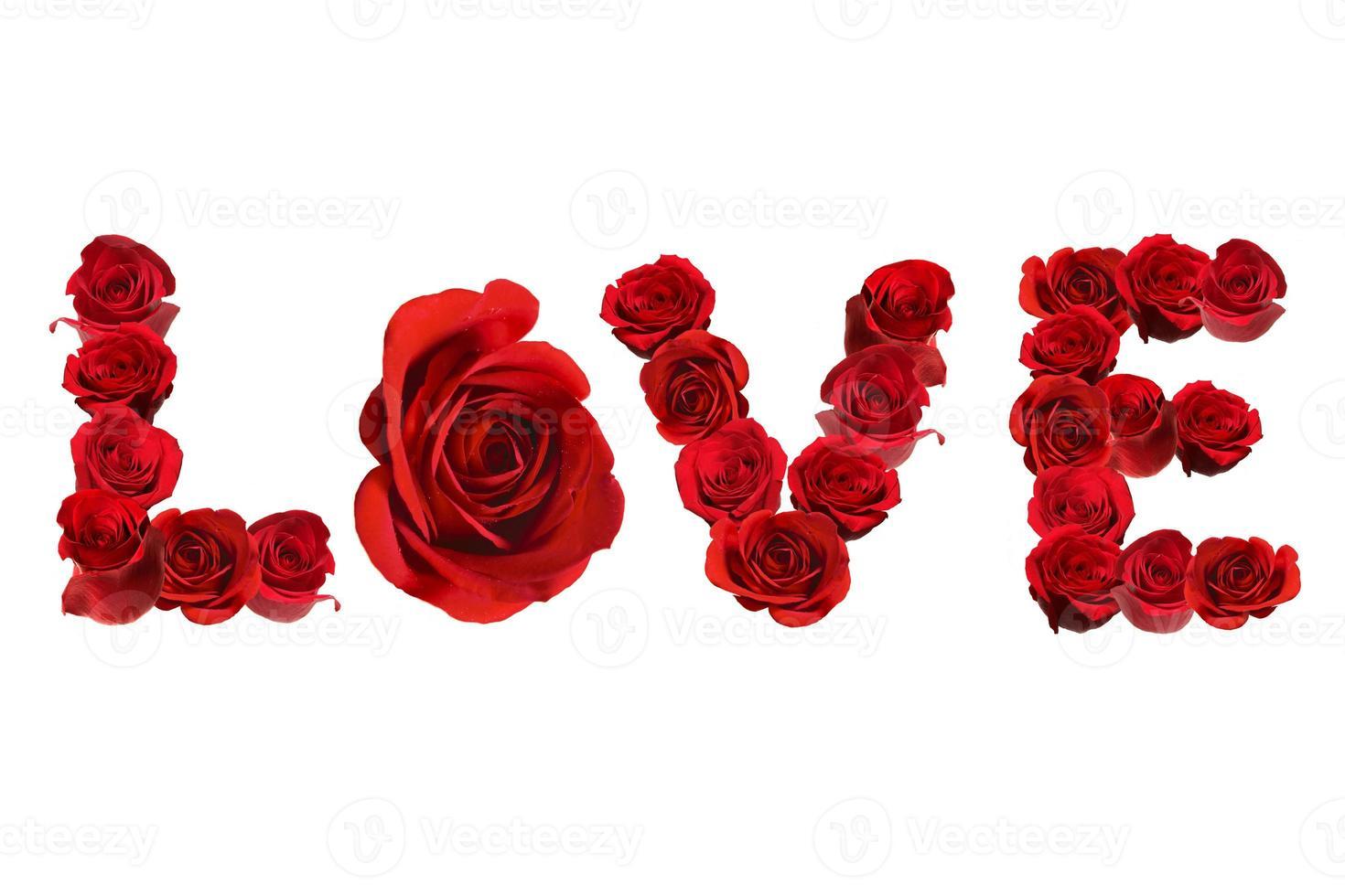 Liebe buchstabiert mit isolierten roten Rosen auf weiß foto