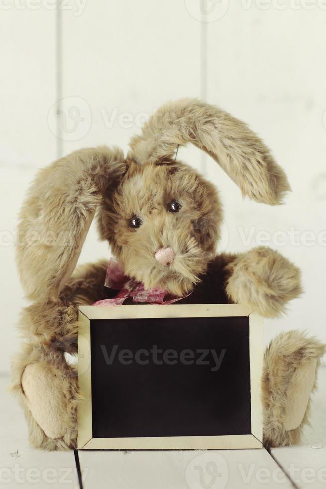Teddybär wie hausgemachtes Häschen auf weißem Holzhintergrund foto