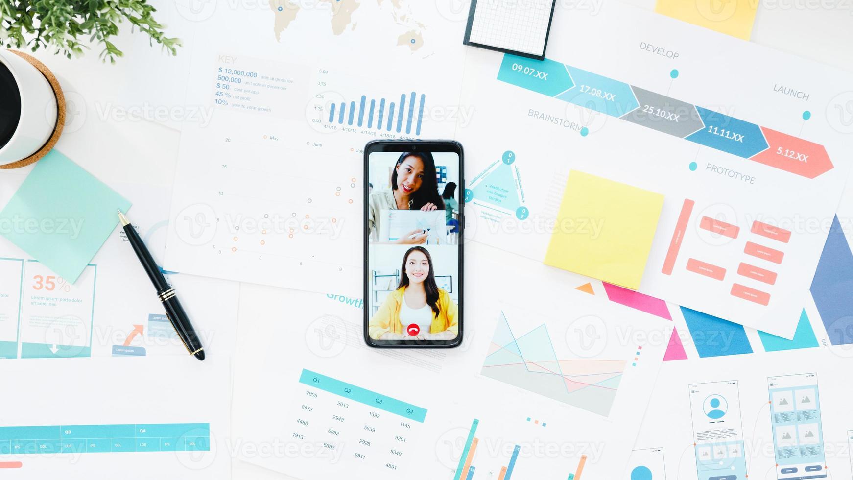 Blick von oben auf die junge Geschäftsfrau in Asien, die Telefongespräche mit Kollegen über den Plan in Videoanrufen führt, während sie von zu Hause aus im Wohnzimmer arbeiten. soziale Distanzierung, Quarantäne zur Vorbeugung des Coronavirus. foto