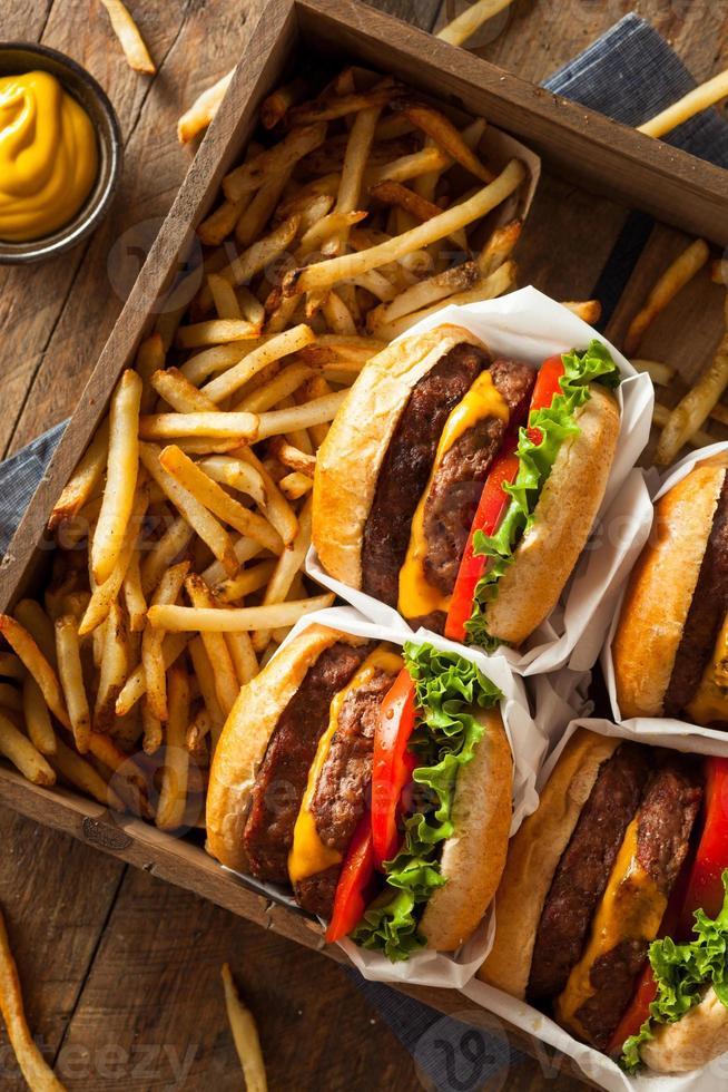 doppelte Cheeseburger und Pommes foto