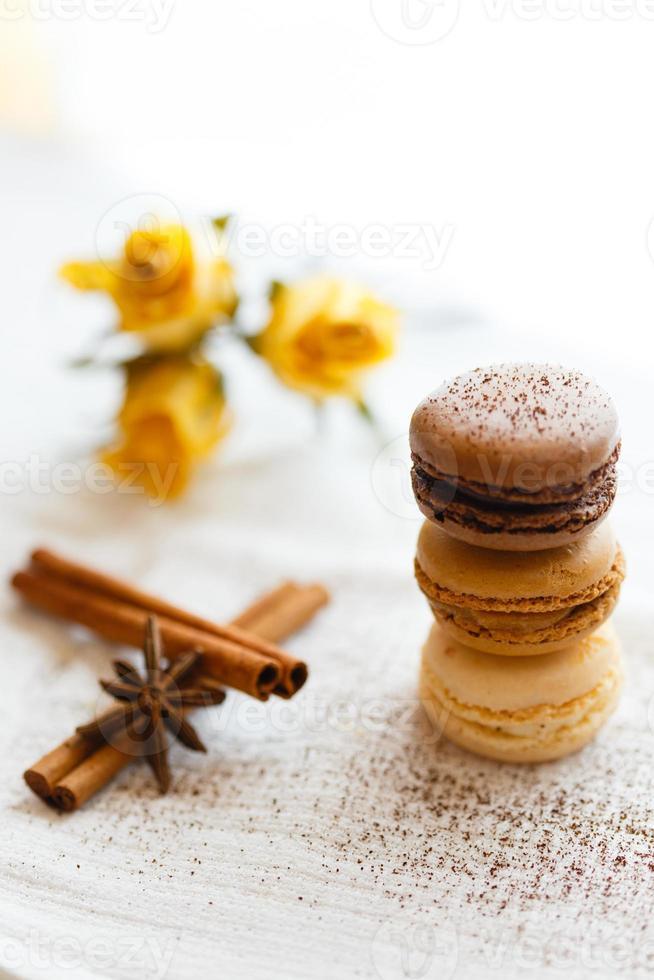 Macarons mit Lebkuchengewürzen foto