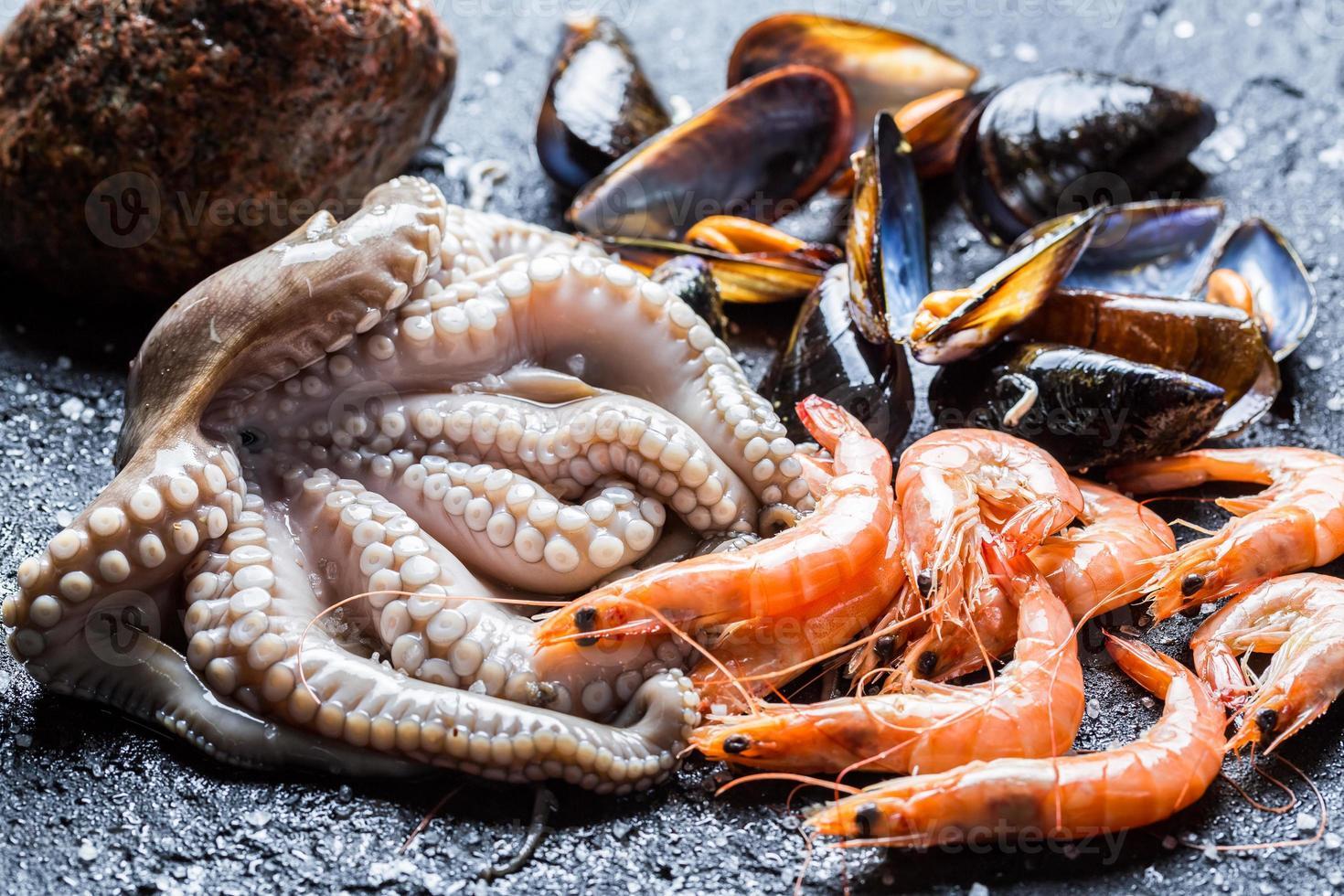 drei Arten von frischen Meeresfrüchten foto