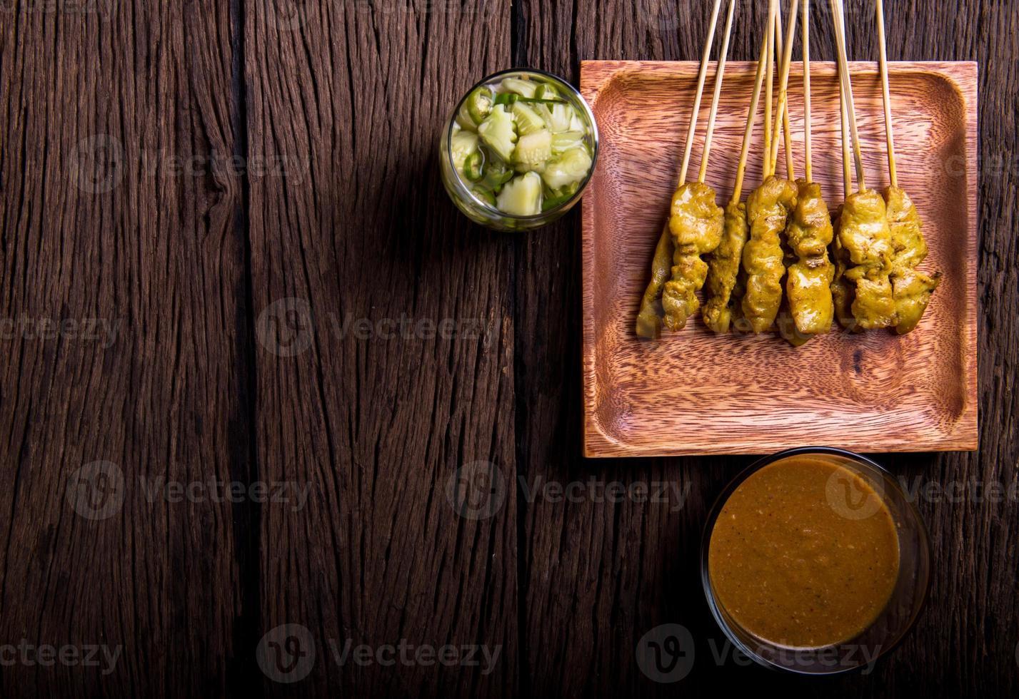 Schweinefleisch Satay, traditionelles thailändisches Barbecue gebratenes Schweinefleisch foto