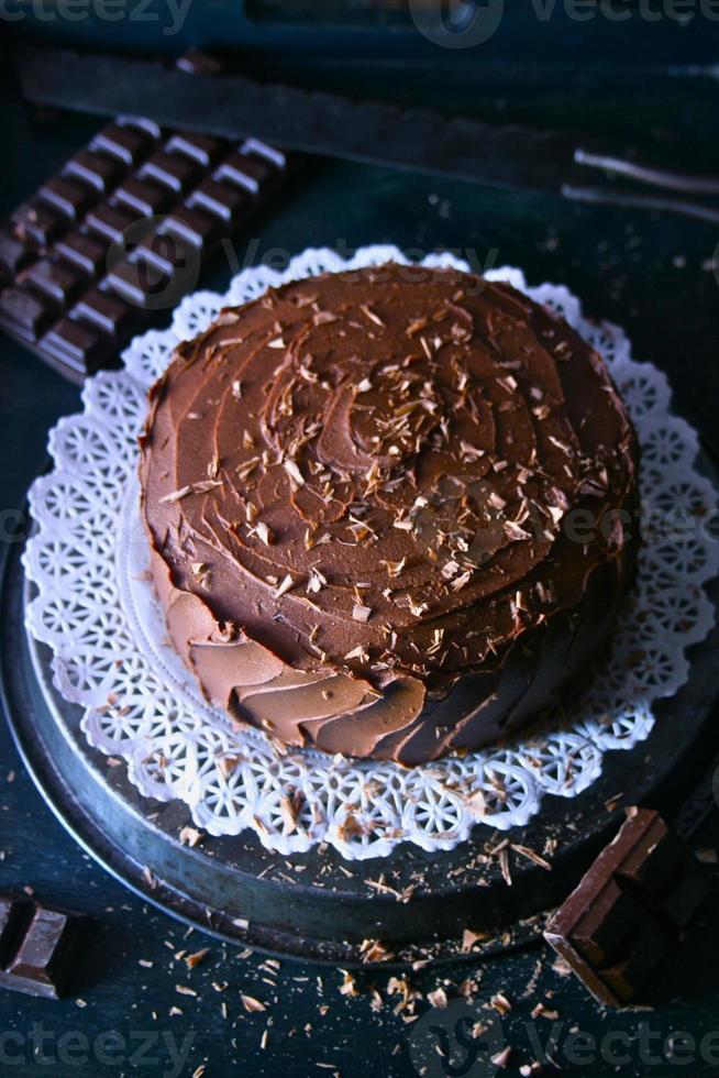 Schokoladenkuchen mit Eis foto