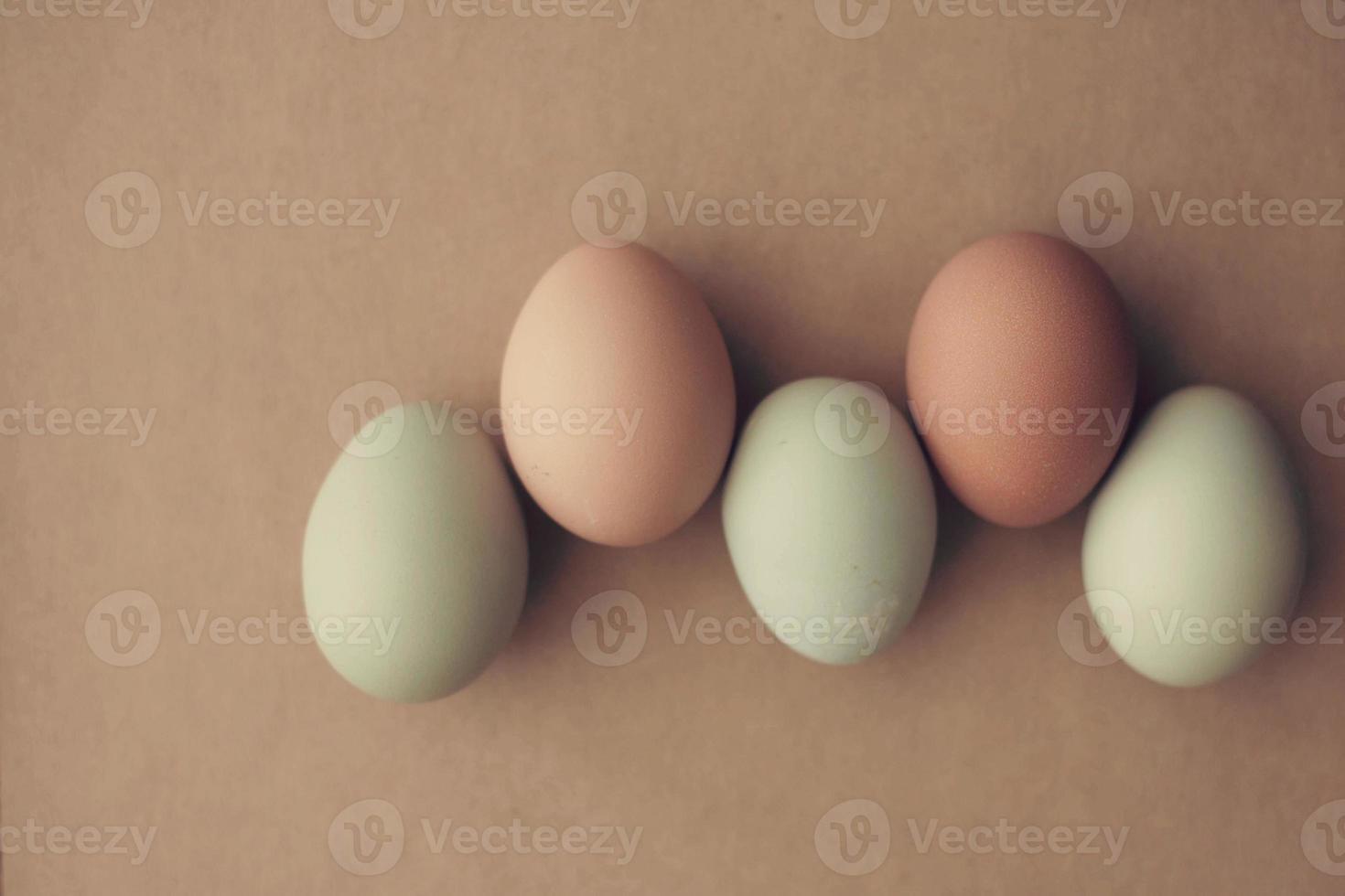 Reihe von frischen Eiern der grünen und braunen Farm foto