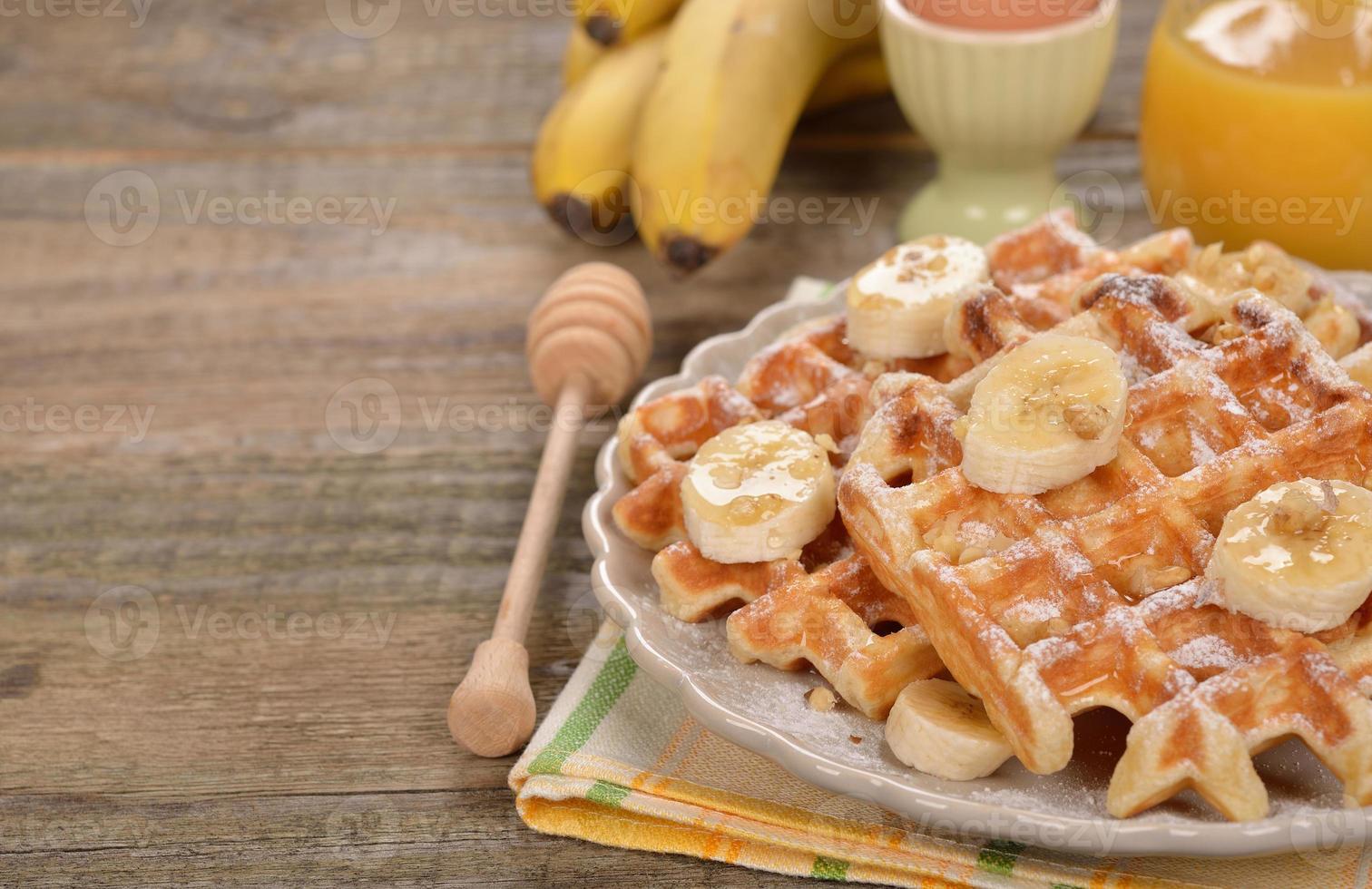 Waffeln mit Banane foto